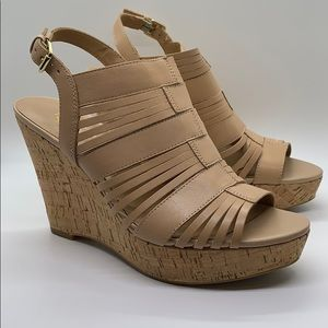Franco Sarto Cream Leather Cork Wedge